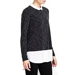 Wallis - Petite charcoal 2in1 shirt