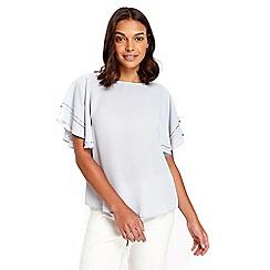 Wallis - Petite grey flutter sleeves top