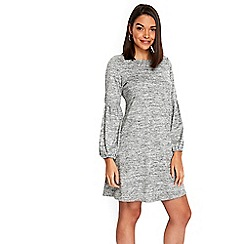 Wallis - Petite grey balloon sleeves knitted fit and flare dress