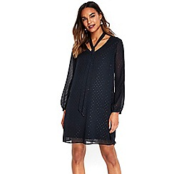 Wallis - Navy tie neck dress
