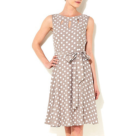 Wallis - Taupe polka dot petite fit and flare dress