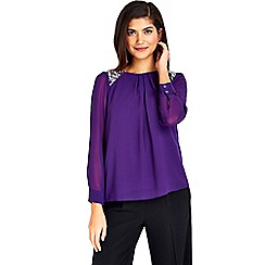 Wallis - Petite purple embellished top