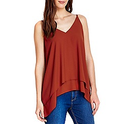 Wallis - Petite rust double layer camisole