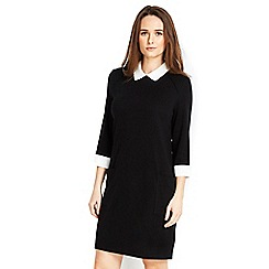 Wallis - Petite black collar 2in1 dress