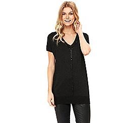 Wallis - Petite black embellished trim top