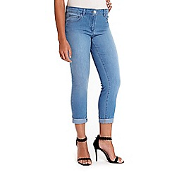Wallis - Petite light blue roll up jeans