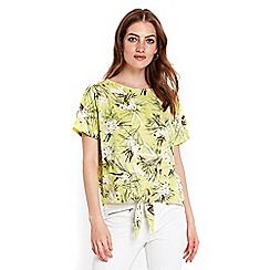 Wallis - Petite lemon floral tie front top