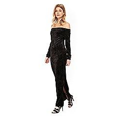 Wallis - Petite black velvet bardot maxi dress