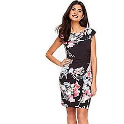 Wallis - Petite black floral ruche side dress
