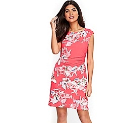 Wallis - Petite pink floral ruche side dress