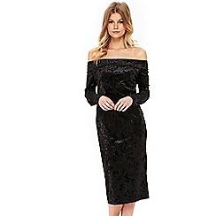 Wallis - Petite black velvet bardot dress
