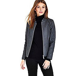 Wallis - Petite grey gothic biker jacket