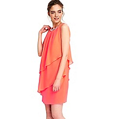 Wallis - Petite coral tiered dress