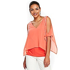 Wallis - Petite orange scatter embellished v neck top