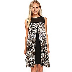 Wallis - Petite animal split front dress