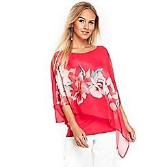 Wallis - Petite pink floral print layered top