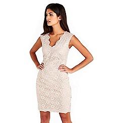 Wallis - Petite neutral lace dress