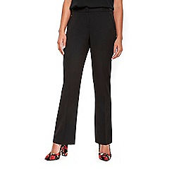 Wallis - Petite black pvl bootcut bar trim trousers