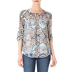 Wallis - Petite paisley tie neck top