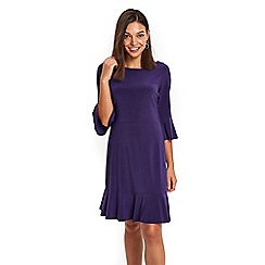Wallis - Petite purple jersey flute sleeves shift dress