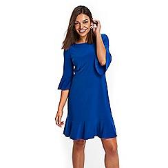 Wallis - Petite blue jersey flute sleeves dress