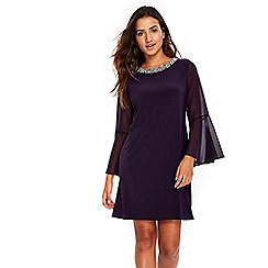 Wallis - Petite purple trim neck flute sleeves dress