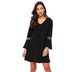 Wallis - Petite black crochet insert shift dress