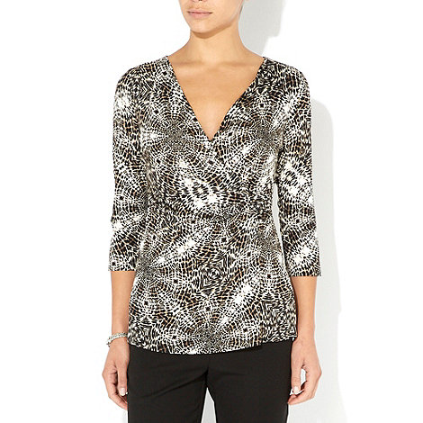 Wallis - Animal petite jersey wrap top