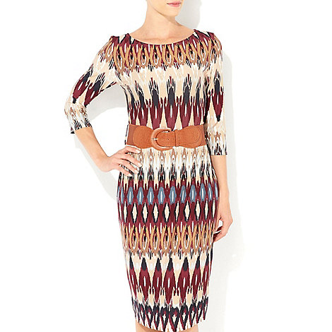 Wallis - Wine petite printed midi dress