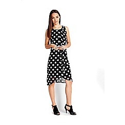 Wallis - Petite black ruffle spot dress