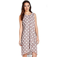 Wallis - Petite taupe ruffle spot dress