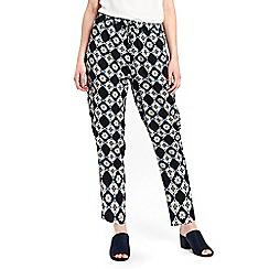 Wallis - Petite navy tile print trousers