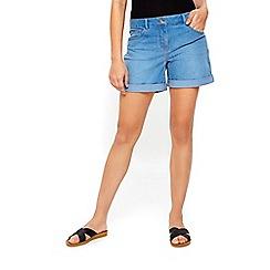Wallis - Petite summer blue roll hem shorts