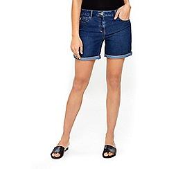Wallis - Petite mid wash denim roll hem shorts