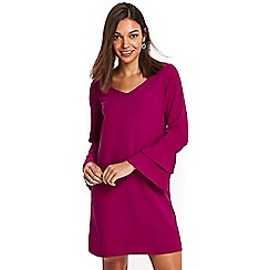 Wallis - Petite purple double flute v neck dress