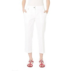 Wallis - Petite white cotton crop trousers