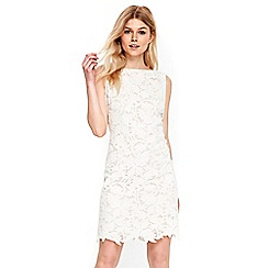 Wallis - Petite cream leaf lace dress