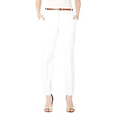 Wallis - Petite white cotton cigarette trousers