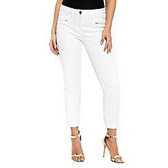 Wallis - Petite scarlet white roll up jeans