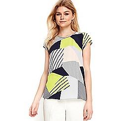 Wallis - Petite multi coloured geometric print top