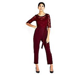 Wallis - Petite berry lace top jumpsuit