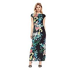 Wallis - Petite black tropical floral ruche side maxi dress
