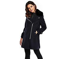 Wallis - Petite navy fur collar twill jacket