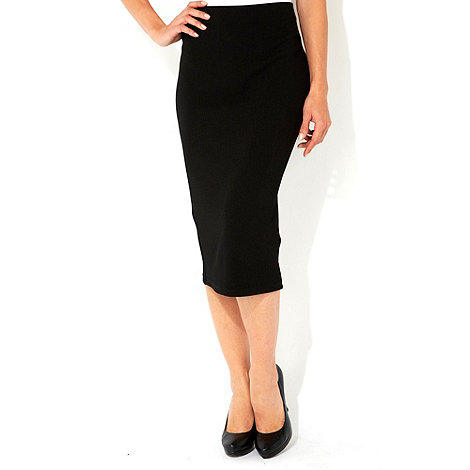 Wallis - Black petite midi skirt