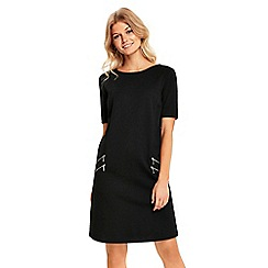 Wallis - Petite black zip front pocket dress