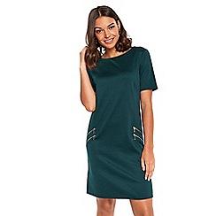 Wallis - Petite green zip front pocket dress