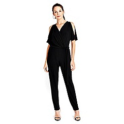 Wallis - Black split sleeve jumpsuit