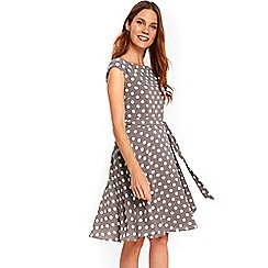Wallis - Taupe spotty fit and flare dress