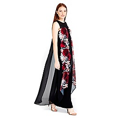 Wallis - Black floral split front maxi dress