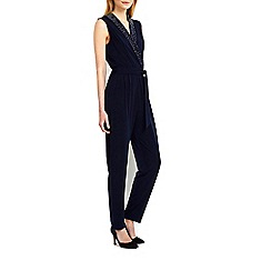 Wallis - Navy embellished wrap jumpsuit